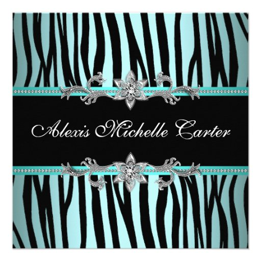 Teal Blue Zebra Sweet Sixteen Birthday Party 5.25x5.25 Square Paper ...