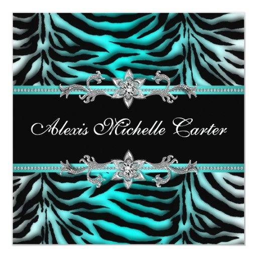 """Teal Blue Zebra Sweet Sixteen Birthday Party 5.25"""" Square Invitation Card"""