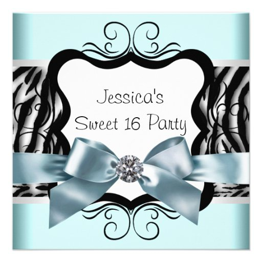 Teal Blue Zebra Sweet Sixteen Birthday Party Personalized Announcement ...