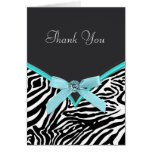 Teal Blue Zebra Thank You Cards
