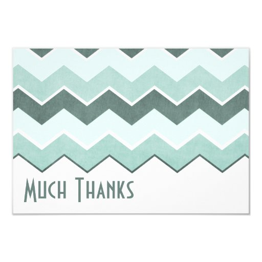 Teal Blue Zig Zag Pattern Thank You Card