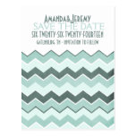 Teal Blue Zig Zag Save The Date Postcard