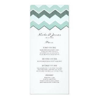 Teal Blue Zig Zag Wedding Menu Card