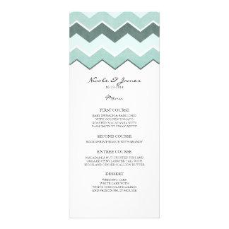 Teal Blue Zig Zag Wedding Menu Personalized Invitation