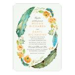 Teal Bohemian Floral Feathers Botanical Wedding Card