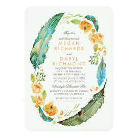 Teal Bohemian Floral Feathers Botanical Wedding Card