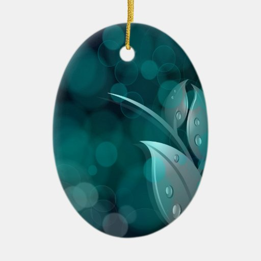 Teal Bokeh Leaves Double-Sided Oval Ceramic Christmas Ornament