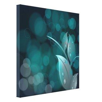 Teal Bokeh Leaves Wrapped Canvas wrappedcanvas