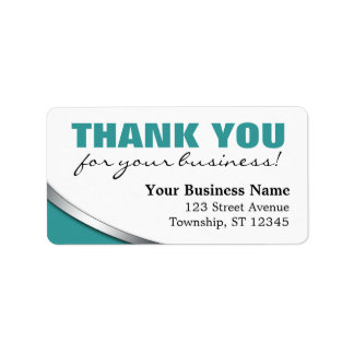 """Teal Bold """"Thank you for your Business"""" Labels"""
