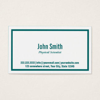 Teal Border Physical Scientist Business Card