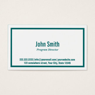 Teal Border Program Director Business Card