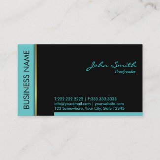 Teal Border Proofreading Business Card