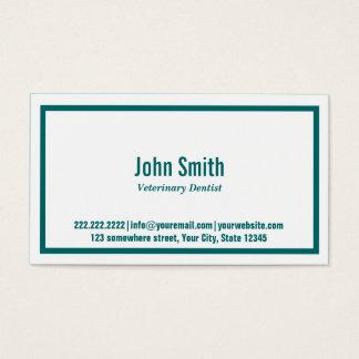Teal Border Veterinary Dentist Business Card