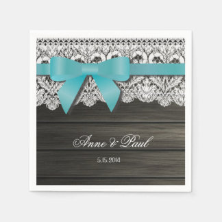 Teal bow and Lace Napkins Paper Napkins
