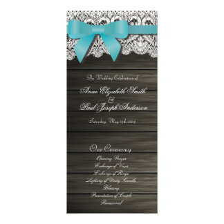 Teal bow and Lace wedding programs
