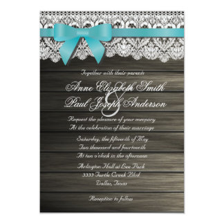Teal bow Barn Wood and Lace Wedding Invitations