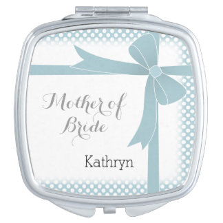 Teal Bow & Dots Personalized Mother of Bride Makeup Mirror