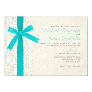 Teal Bow & Lace Wedding Invitations