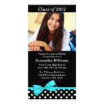 Teal Bow Polka Dot Graduation Party Announcement Photo Greeting Card