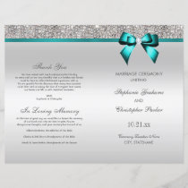 Teal Bow Silver Sequins Wedding Ceremony Program