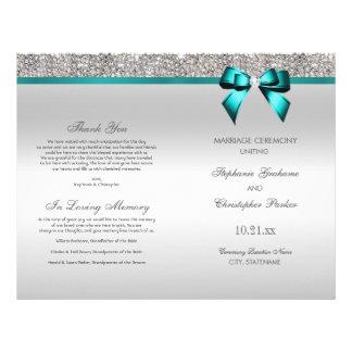 Teal Bow Silver Sequins Wedding Ceremony Program Flyer