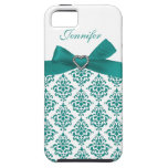 Teal Bow with Elegant Damask iPhone Case iPhone 5 Cover