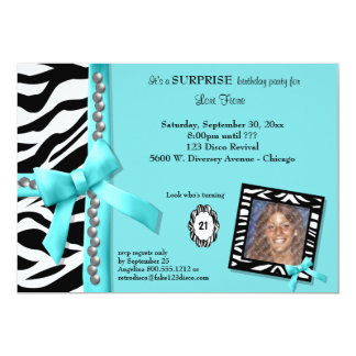 Teal Bow With Pearls And White Zebra Stripes 5x7 Paper Invitation Card
