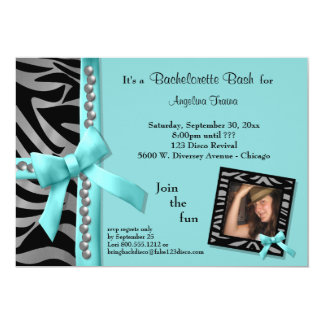 Teal Bow With Silver Pearls And Zebra Stripes 5x7 Paper Invitation Card