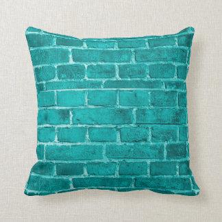 Teal Brick Throw Pillow