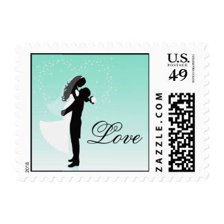 Teal Bride And Groom Silhouette Love Postage