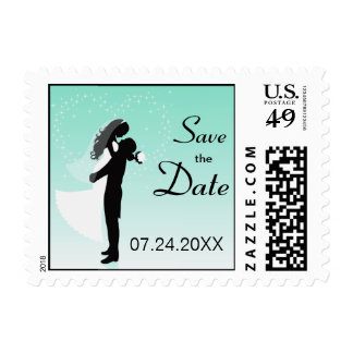 Teal Bride And Groom Silhouette Save The Date Postage