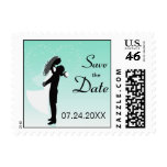 Teal Bride And Groom Silhouette Save The Date Stamp
