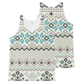 Teal bronze aztec snowflakes Christmas All-Over-Print Tank Top