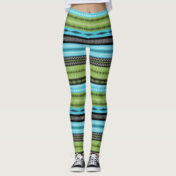 Teal, Brown and Green abstract leggings