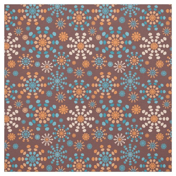 Teal, Brown and Orange abstract fireworks bursts Fabric