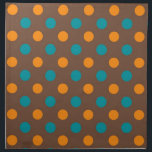 "Teal, Brown, and Orange Polka Dots Cloth Napkin<br><div class=""desc"">You will love this cute,  chic,  Teal,  Brown,  and Orange Polka Dots pattern design! Great to own for yourself or as a gift. We invite you to our store,  Retro Pattern Shop,  to view this cool girly design on many more great modern customizable large and small products.  Thank you!</div>"