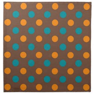 Teal, Brown, and Orange Polka Dots Cloth Napkin