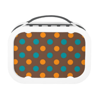 Teal, Brown, and Orange Polka Dots Lunch Boxes