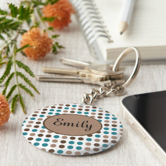 Teal Brown and Tan Polka Dot Personalized Keychain