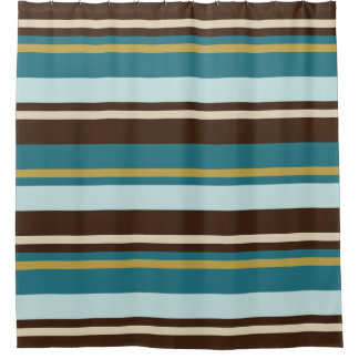 Teal, Brown, Beige And Gold Horizontal Stripes Shower Curtain
