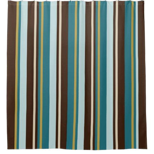 Teal Brown Beige And Gold Vertical Stripes Shower