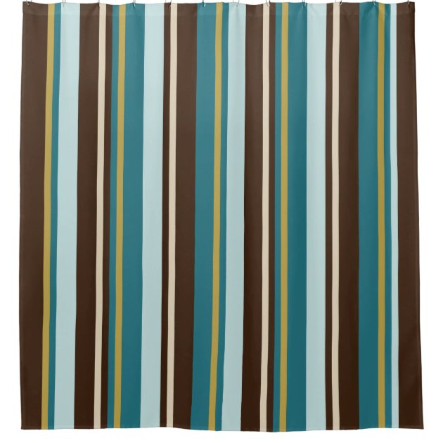 Teal Brown Beige And Gold Vertical Stripes Shower Curtain Zazzle Com