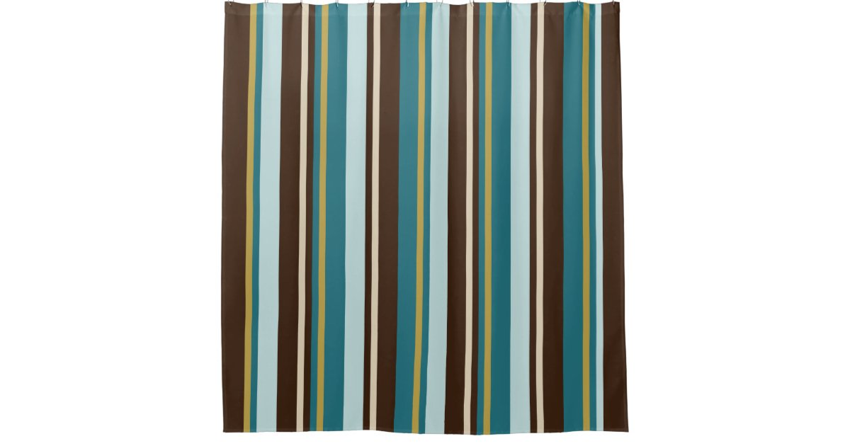 Teal, Brown, Beige and Gold Vertical Stripes Shower Curtain | Zazzle.com