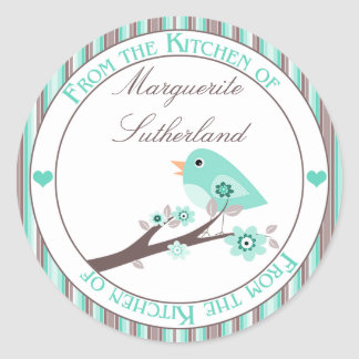 Teal Brown Bird on Branch From the Kitchen of Classic Round Sticker