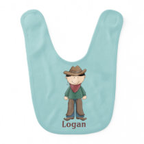 Teal & Brown Cowboy Baby Boy Bib