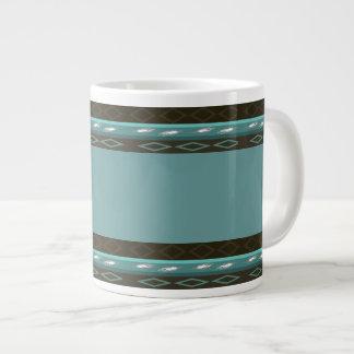 Teal & Brown Design Jumbo Mug