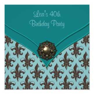 Teal Brown Fleur de Lis 40th Birthday Party Card