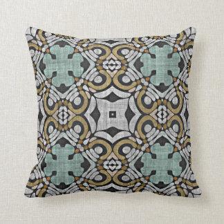 Teal Brown Gray Retro Chic Nouveau Deco Pattern Throw Pillow