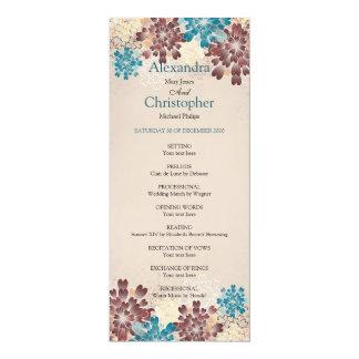 Teal, Brown & Ivory Flowers Retro Wedding Program