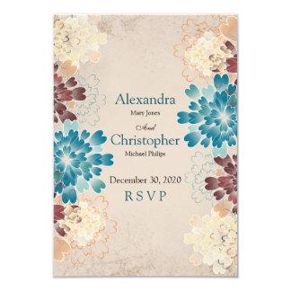 Teal, Brown & Ivory Flowers Retro Wedding RSVP V2 Card